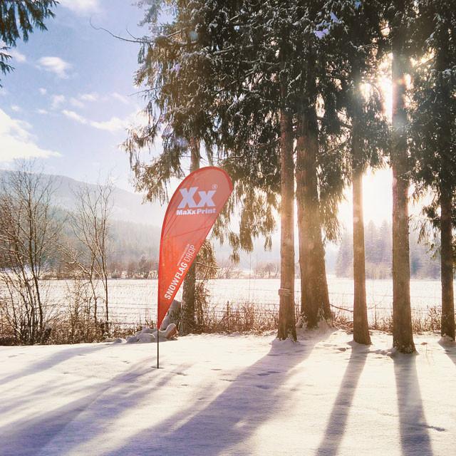 Bedruckte Snowflags für den Winter